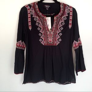 Johnny Was Willow Embroidered Bell Sleeve Top XS